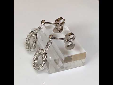Silver CZ Diamond Halo Earrings 10mm