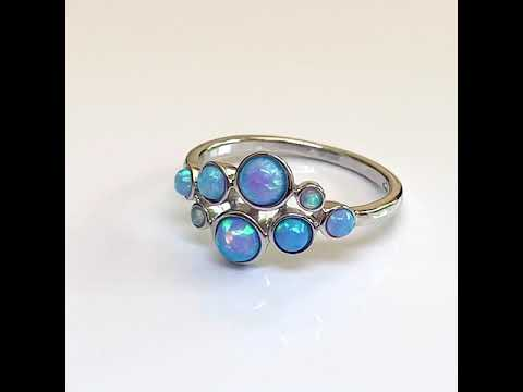 Silver Blue Opal Bubble Ring