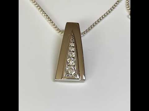 Silver Pendant with Graduated CZ Diamonds
