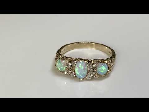9ct Gold Victorian Style Opal & Diamond Ring