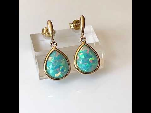 9ct Gold Created Opal Earrings, Teardrop 10x8mm