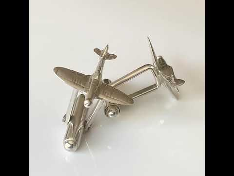 Silver Airplane Spitfire Cufflinks