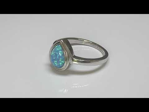 Silver Created Blue Opal Ring, Teardrop