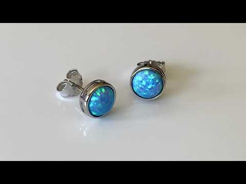 Blue Opal Earring 8mm