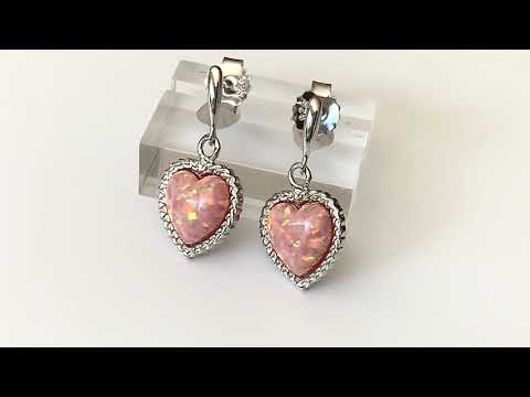 Coral Pink Opal Heart Earrings