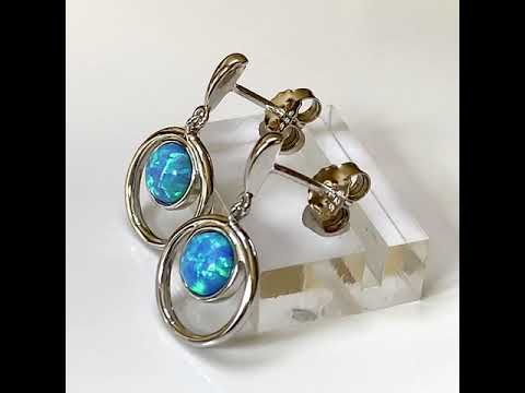Blue Opal Halo Earrings