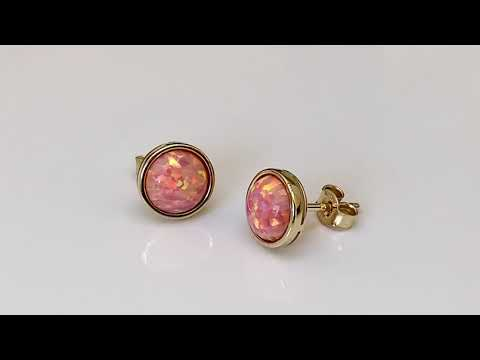 9ct Gold Coral Pink Created Opal Earrings 9mm