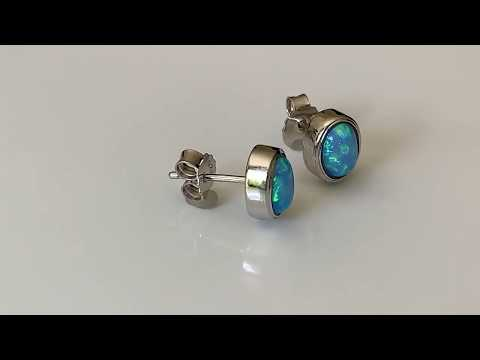 Oval Blue Opal Earrings