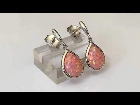 Coral Pink Opal Earrings