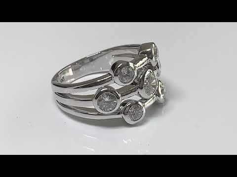 Silver CZ Diamond Bubble Ring