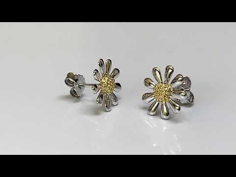 Silver Daisy Earrings 13mm