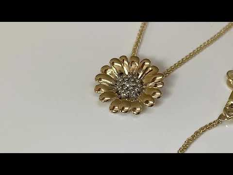 9ct Gold CZ Diamond Daisy Pendant 13mm