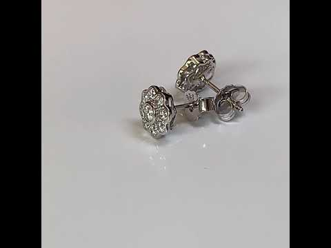 Silver CZ Diamond Daisy Earrings, 9mm