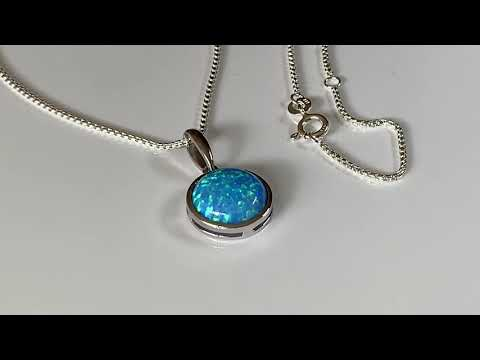 Blue Opal Pendant 12mm