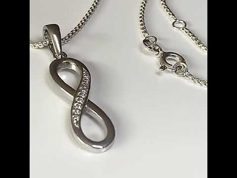 Silver Infinity Pendant with CZ Diamonds