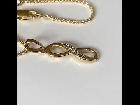 9ct Gold Diamond Infinity Pendant 16mm