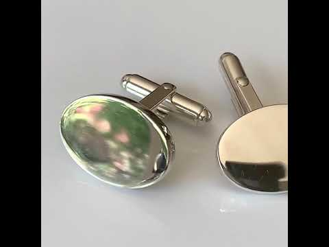 Silver Cufflinks with Thick Oval Plates