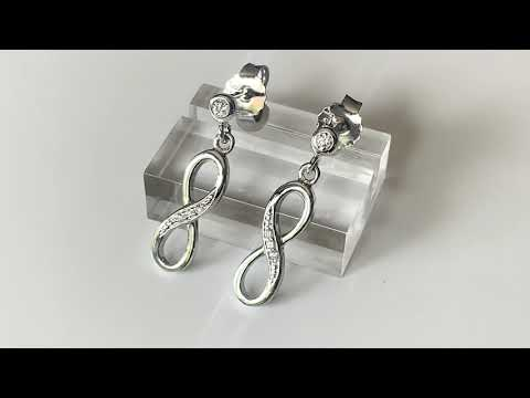 Silver Infinity Earrings with CZ Diamonds