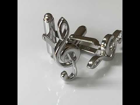 Treble Clef Silver Cufflinks