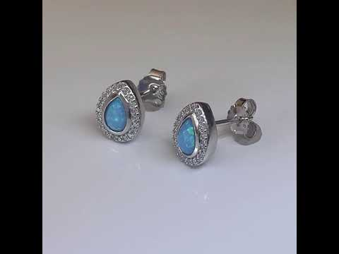 Teardrop Blue Opal Earrings