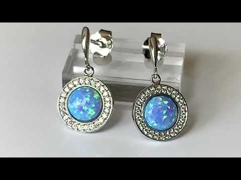 Blue Opal & CZ Earrings