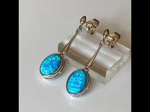 Blue Opal Drop Earrings