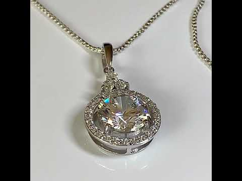 Silver CZ Diamond Halo Pendant