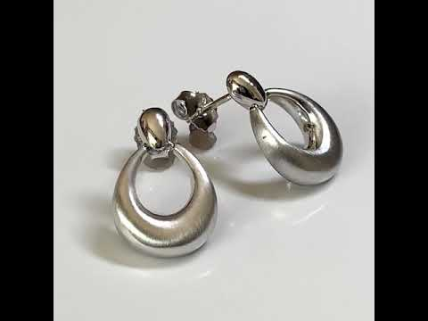 Bold Satin Silver Hoop Earrings