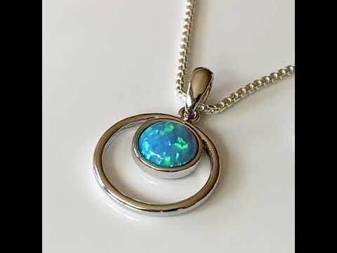 Blue Opal Halo Pendant 15mm