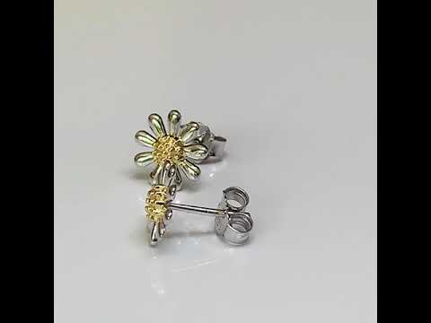 Silver Daisy Earrings 10mm