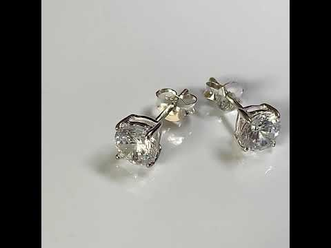 Silver CZ Diamond Stud Earrings, 4 Claws