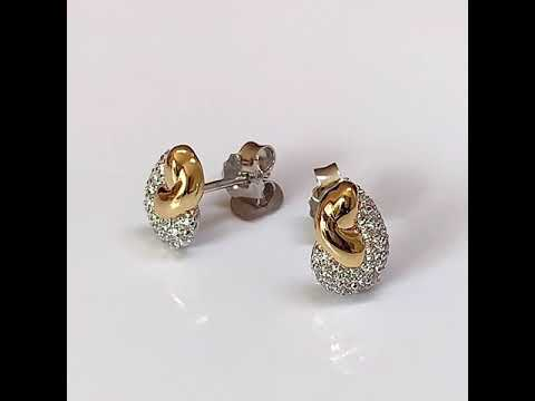 Silver & Gold Pavé Stud Earrings