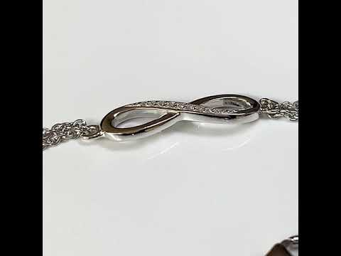 Silver Infinity Bracelet with CZ Diamonds