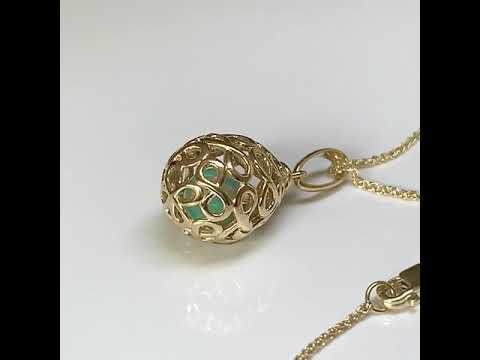9ct Gold 'Infinity Egg' Fob Pendant with Opal