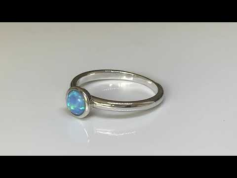Silver Blue Opal Stacking Ring