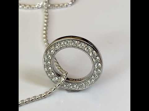 Silver CZ Diamond Halo Pendant, 20mm