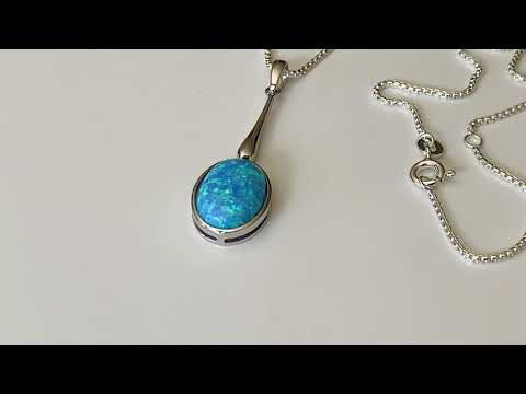 Blue Opal Drop Pendant