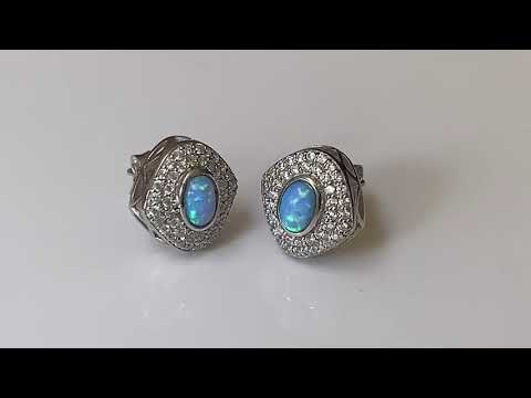 Vibrant Blue Opal & CZ Earrings