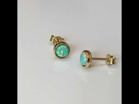 9ct Gold Created Opal Earrings 5mm