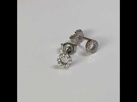 Silver CZ Diamond Circular Halo Earrings 6mm