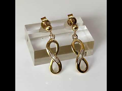 9ct Gold Diamond Infinity Earrings 15mm