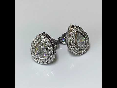 Silver Pear Shape CZ Diamond Earrings