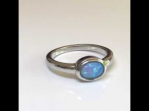 Silver Created Blue Opal Ring, Oval
