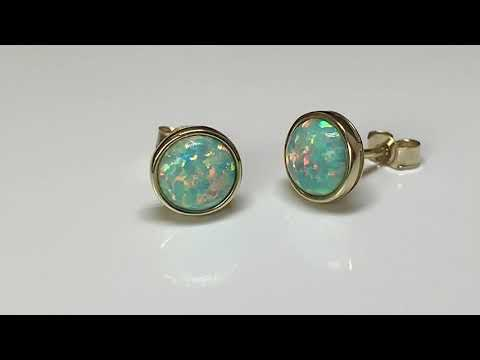 9ct Gold Created Opal Earrings 9mm