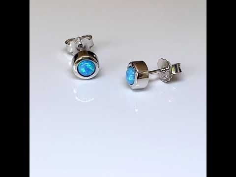 Blue Opal Stud Earrings 6mm