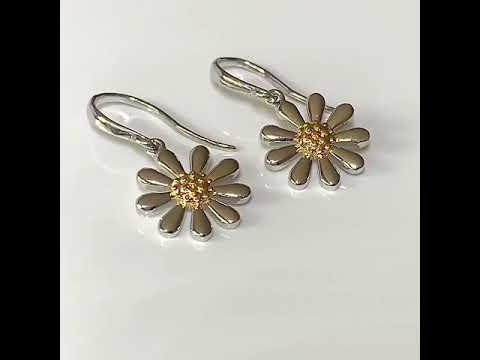 Silver Daisy Earrings on Hooks