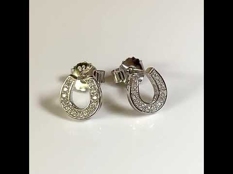 Silver CZ Diamond Horseshoe Earrings