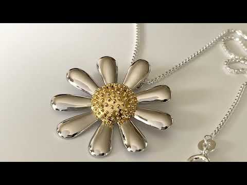 Silver Daisy Necklace 30mm