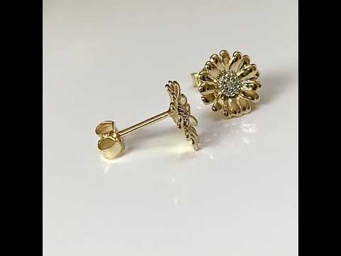 9ct Gold CZ Diamond Daisy Earrings 10mm