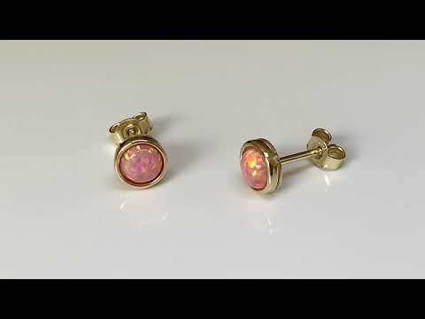 9ct Gold Coral Pink Created Opal Earrings 7mm